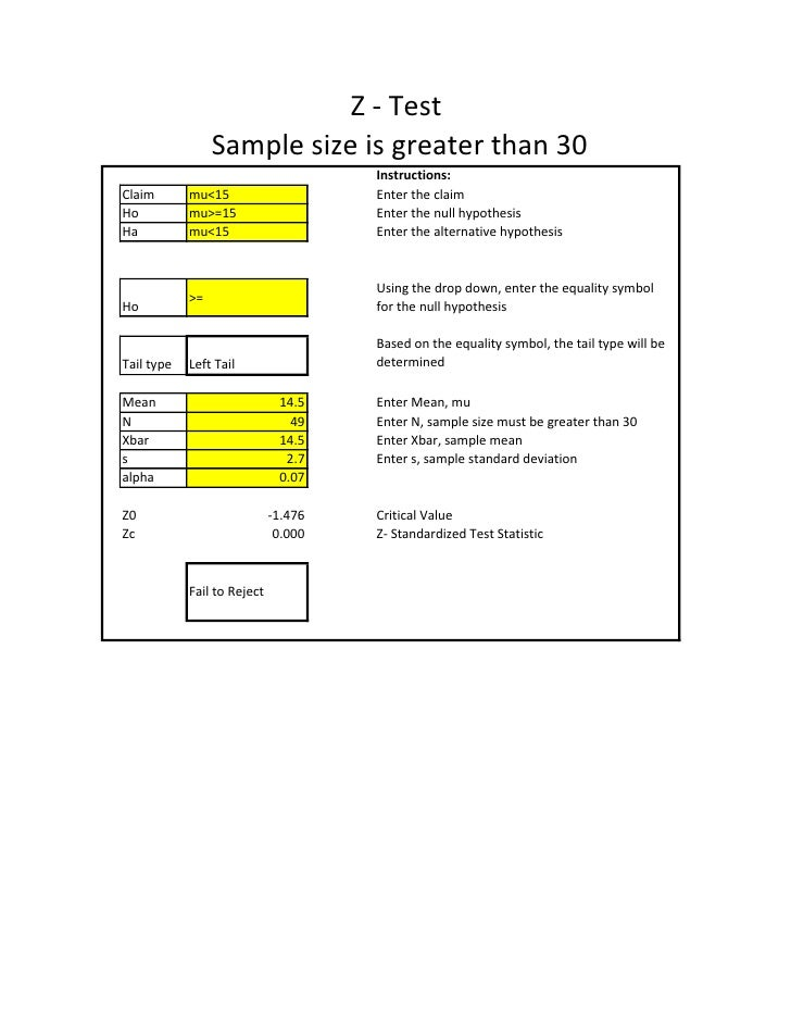 Z - Test                  Sample size is greater than 30                                       Instructions: Claim       m...
