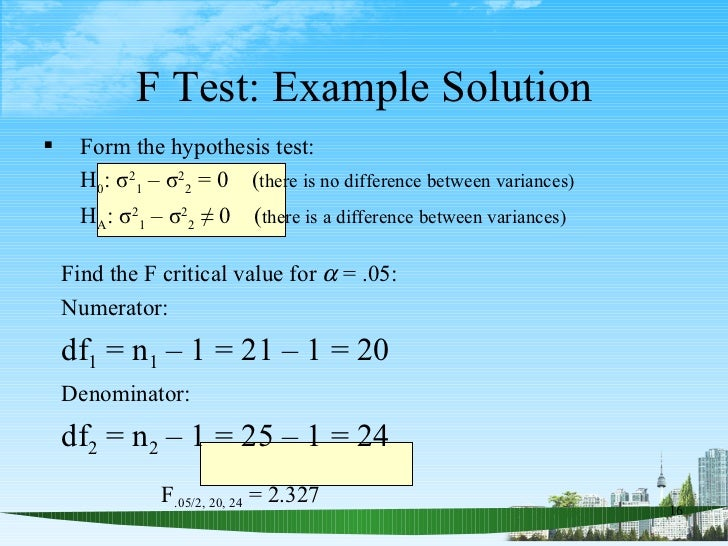 Hypothesis tests for one and two population variances ppt