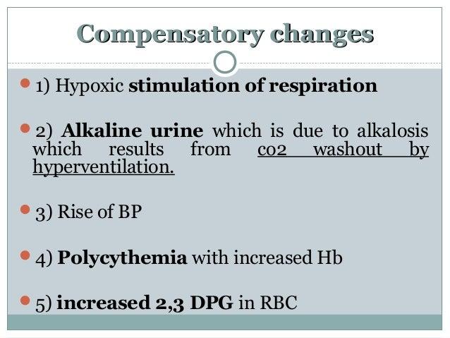 Compensatory changesCompensatory changes 1) Hypoxic stimulation of respiration 2) Alkaline urine which is due to alkalos...