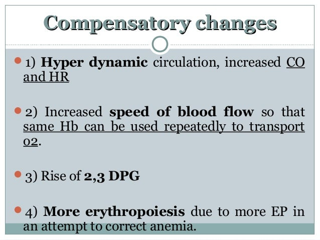 Compensatory changesCompensatory changes 1) Hyper dynamic circulation, increased CO and HR 2) Increased speed of blood f...