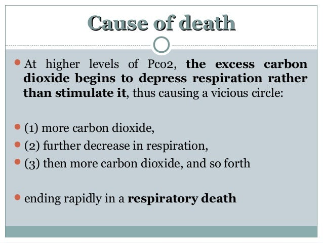 Cause of deathCause of death At higher levels of Pco2, the excess carbon dioxide begins to depress respiration rather tha...