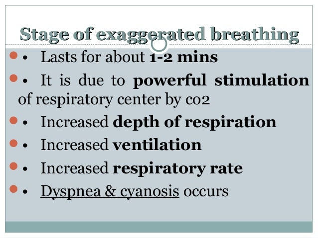 Stage of exaggerated breathingStage of exaggerated breathing • Lasts for about 1-2 mins • It is due to powerful stimulat...