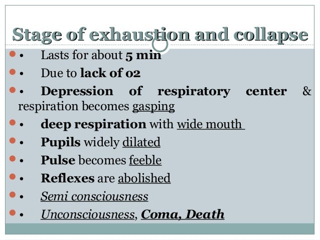 Stage of exhaustion and collapseStage of exhaustion and collapse • Lasts for about 5 min • Due to lack of o2 • Depressi...