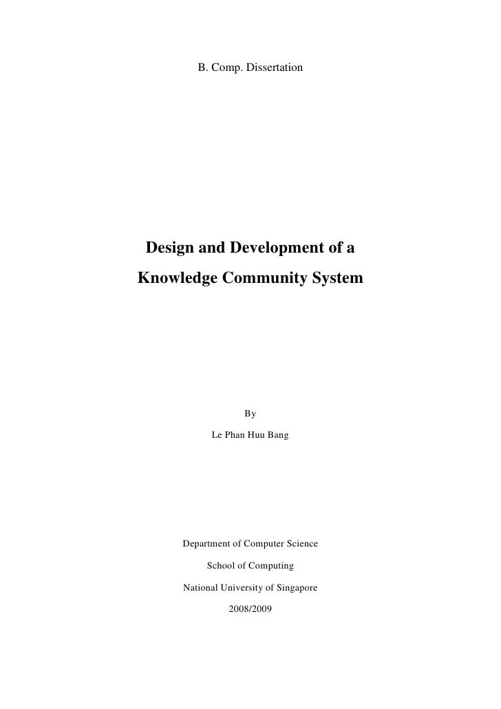 B. Comp. Dissertation     Design and Development of a Knowledge Community System                        By             Le ...