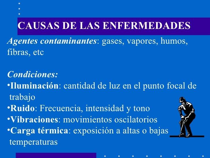 CAUSAS DE LAS ENFERMEDADES <ul><li>Agentes contaminantes : gases, vapores, humos,  </li></ul><ul><li>fibras, etc </li></ul...