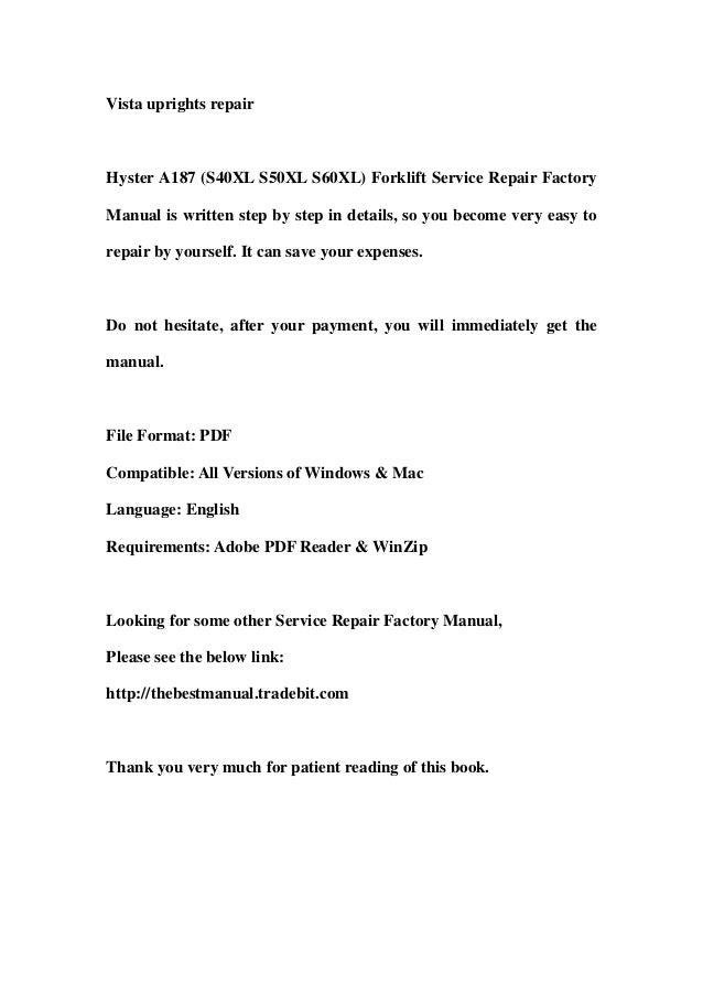 hyster a187  s40 xl s50xl s60xl  forklift service repair Hyster Forklift Diagram Hyster Service Manual