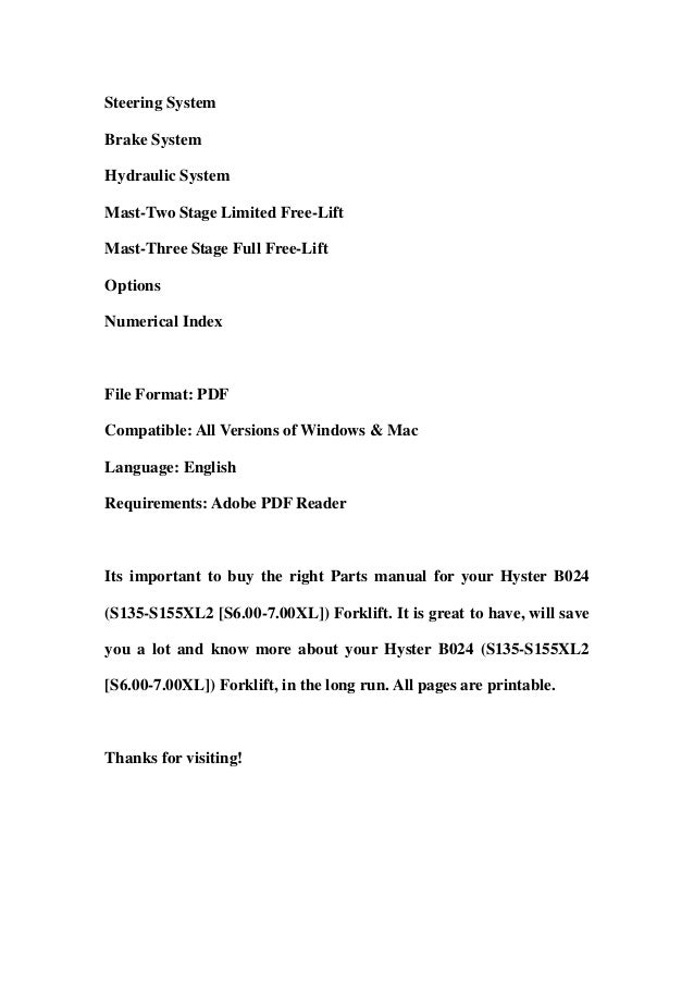 Hyster b024 (s135 s155 xl2 [s6.00-7.00xl]) forklift parts manual download Slide 2