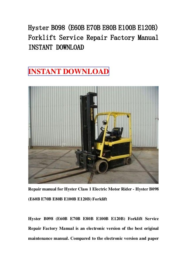 Manual Hyster 100 xl2 on