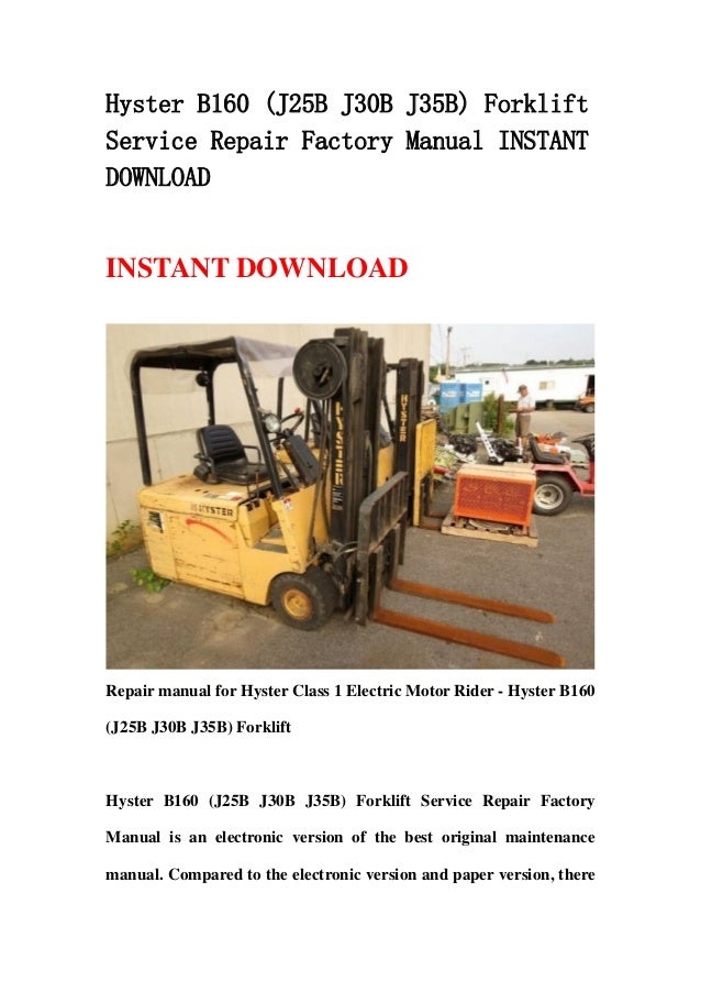 Hyster J30b Wiring Schematic - Diagrams Catalogue