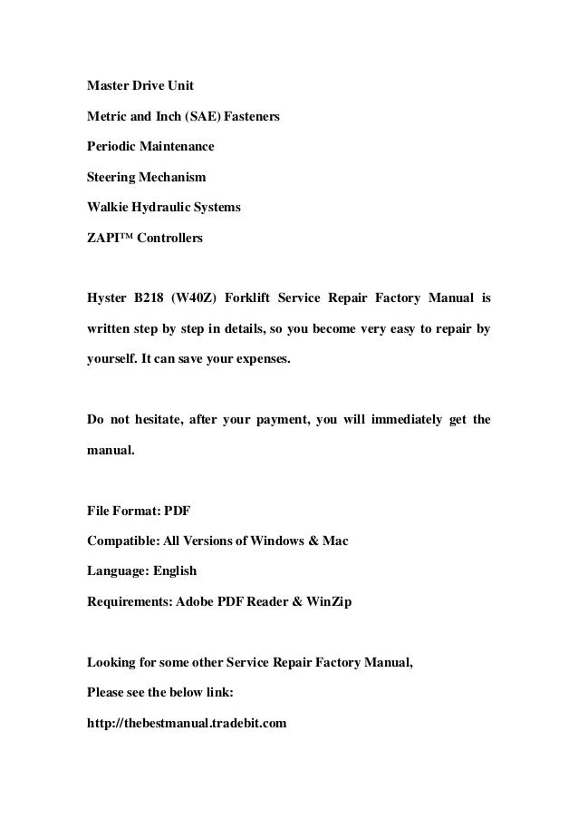 hyster b218 w40 z forklift service repair factory manual instant download 3 638?cb=1366686604 hyster b218 (w40 z) forklift service repair factory manual instant do hyster w40z wiring diagram at readyjetset.co