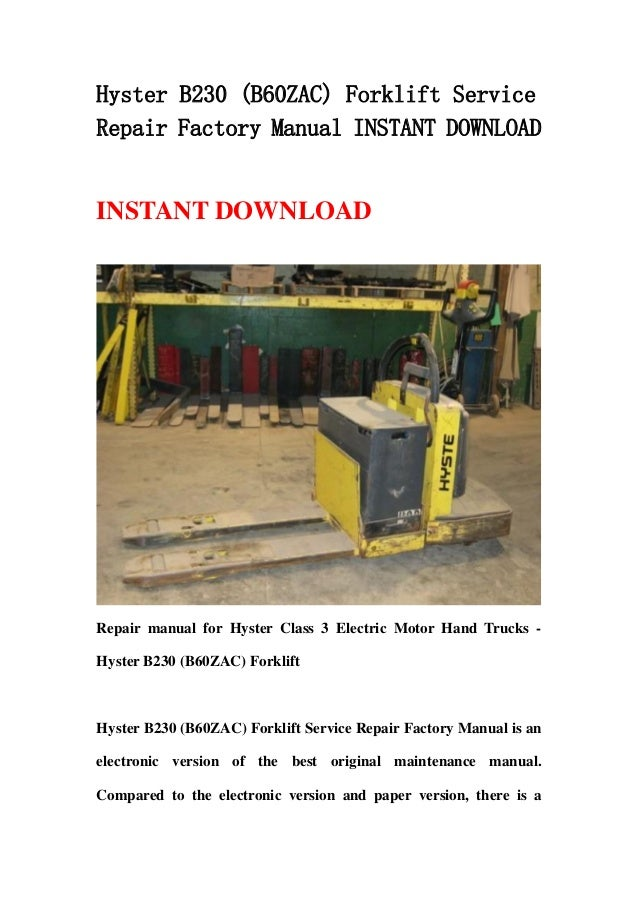 Hyster 60 forklift Weight repair manual