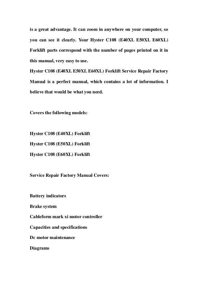 Hyster c108 (e40 xl e50xl e60xl) forklift service repair factory manual instant download Slide 2