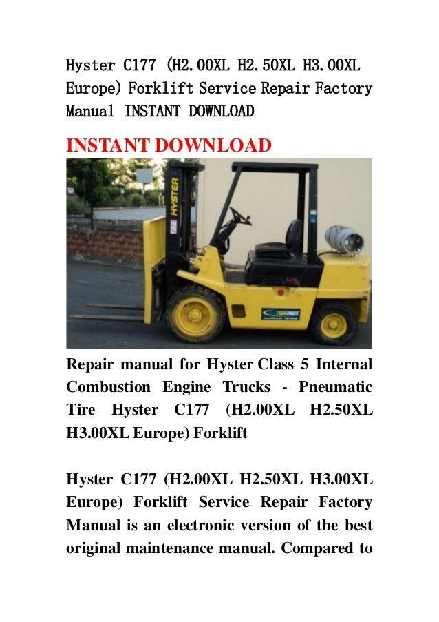 hyster c177 h2 00 xl h2 50xl h3 00xl europe forklift service repair rh slideshare net hyster h2. 50xm manual Hyster Forklift Diagram