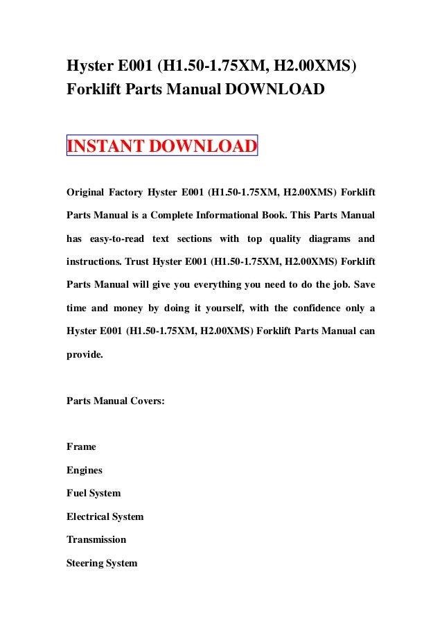 hyster e001 h1 50 1 75xm h2 00xms forklift service repair workshop manual download