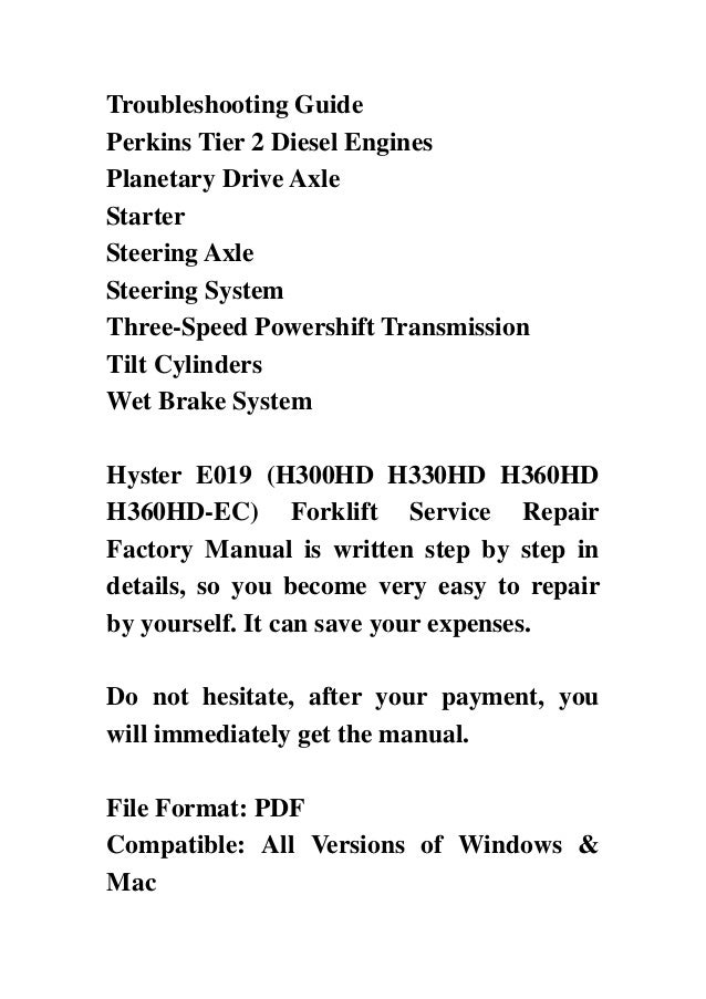 Hyster 360 book Manual