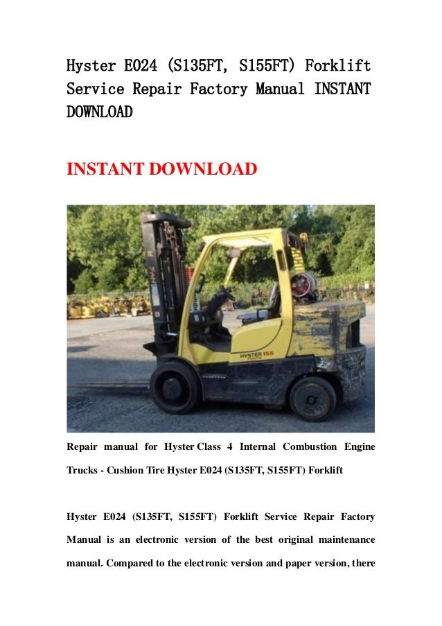 hyster e024  s135 ft  s155ft  forklift service repair