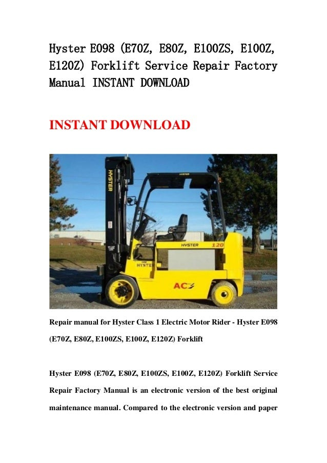 Hyster 120 Forklift owners manual on
