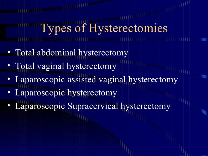 Types of Hysterectomies <ul><li>Total abdominal hysterectomy </li></ul><ul><li>Total vaginal hysterectomy </li></ul><ul><l...
