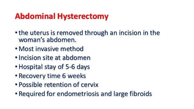 Recovery time after abdominal hysterectomy