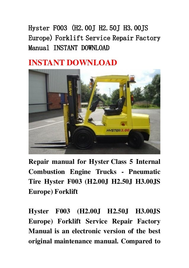 hyster f003 h2 00j h2 50j h3 00js europe forklift service repair factory manual instant download