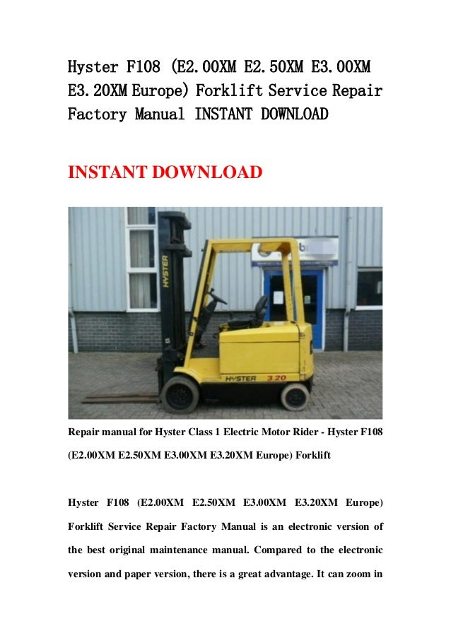 Hyster p 80 Repair Manual