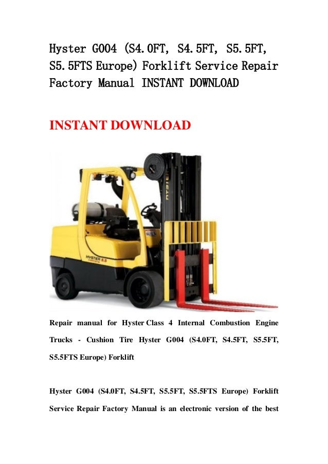 Hyster G004  S4 0 Ft  S4 5ft  S5 5ft  S5 5fts Europe