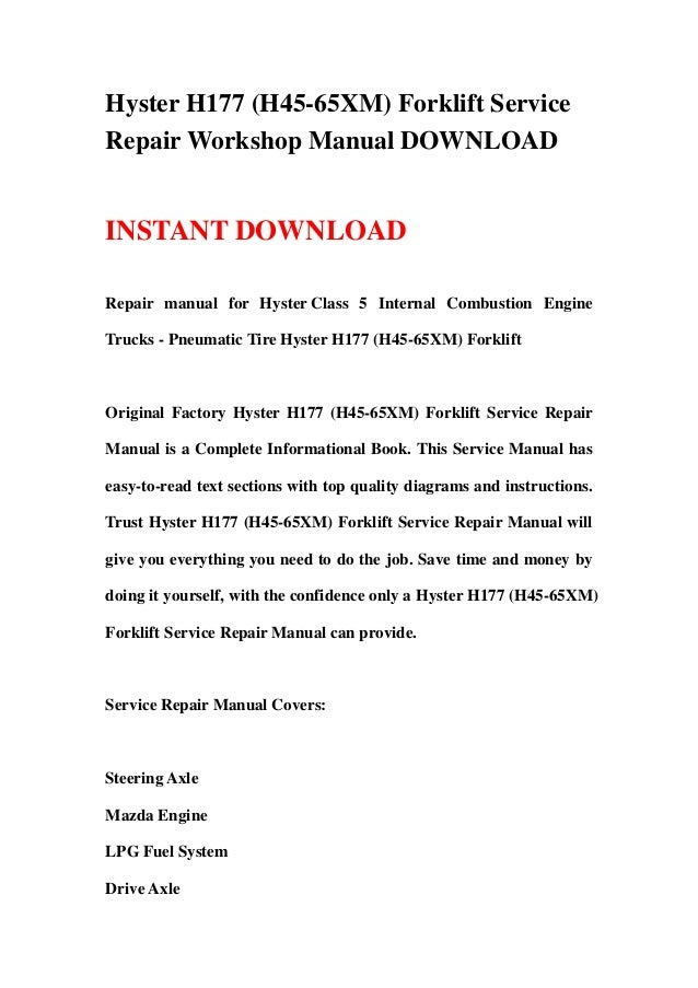 hyster h177 h45 65xm forklift service repair workshop manual download