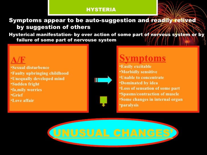 HYSTERIA <ul><li>Symptoms appear to be auto-suggestion and readily relived by suggestion of others </li></ul><ul><li>Hys...