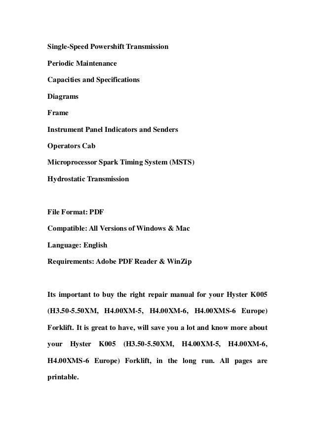 hyster k005 h3 50 5 50 xm h4 00xm 5 h4 00xm 6 h4 00xms 6 europe rh slideshare net Mechanical Services mac 550 service manual