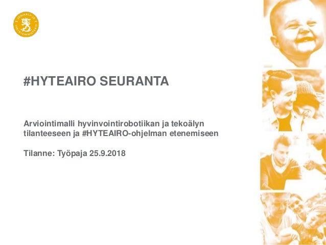 #HYTEAIRO SEURANTA Arviointimalli hyvinvointirobotiikan ja tekoälyn tilanteeseen ja #HYTEAIRO-ohjelman etenemiseen Tilanne...
