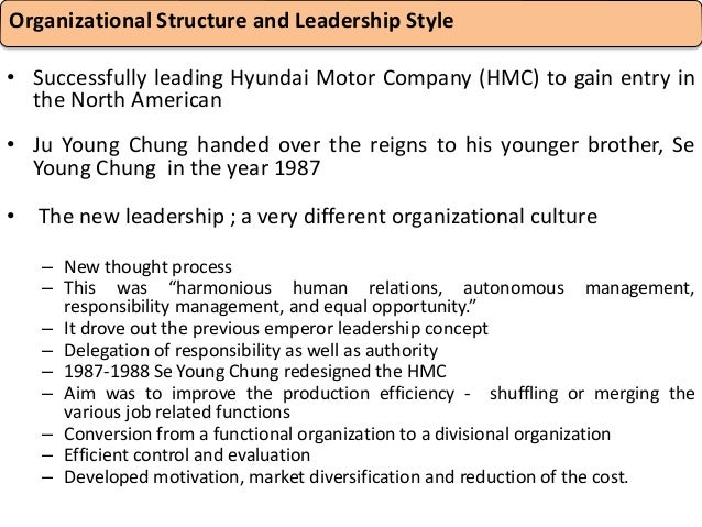 organizational structure of hyundai motors in india