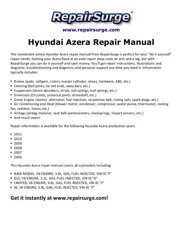 Hyundai azera repair manual 2006 2011