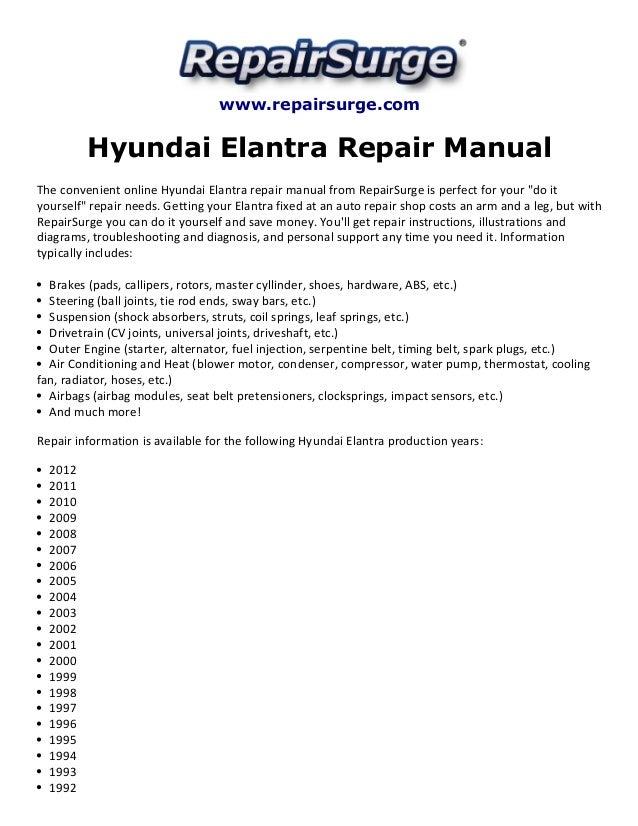 hyundai elantra repair manual 1992 2012 rh slideshare net 1994 Hyundai Elantra 1995 Hyundai Elantra