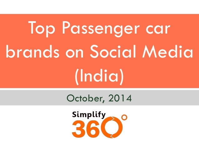 Top Passenger car brands on Social Media (India)  October, 2014