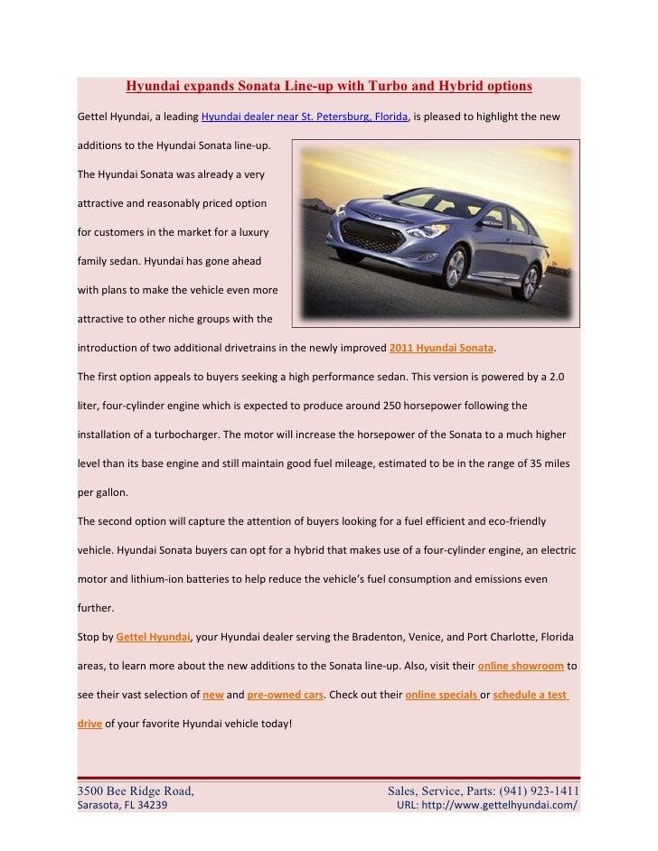 Gettel Hyundai Sarasota >> Hyundai Expands Sonata Line Up With Turbo And Hybrid Options