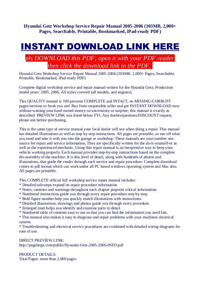 hyundai getz workshop service repair manual 2005 2006 303 mb 2 000 rh slideshare net digital power multi-day workshop manual digital workshop manuals
