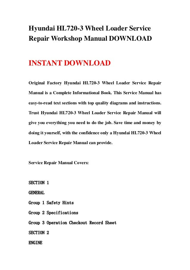 hyundai hl720 3c hl720 3 wheel loader operating manual
