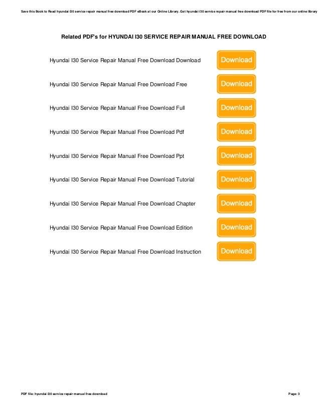 hyundai i30 service repair manual free download rh slideshare net service manual hyundai i30 2012 Hyundai I30 Australia