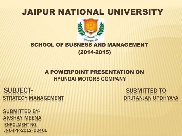 SUBJECT- SUBMITTED TO- STRATEGY MANAGEMENT DR.RANJAN UPDHYAYA SUBMITTED BY- AKSHAY MEENA ENROLMENT NO.- JNU-JPR-2012/00461...