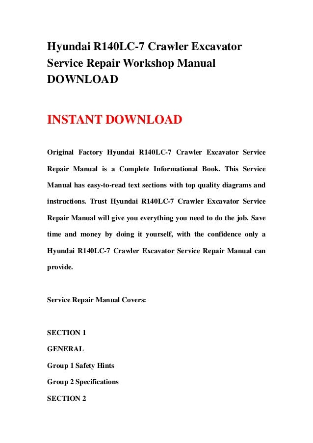 hyundai r140 lc 7 crawler excavator service repair workshop manual download