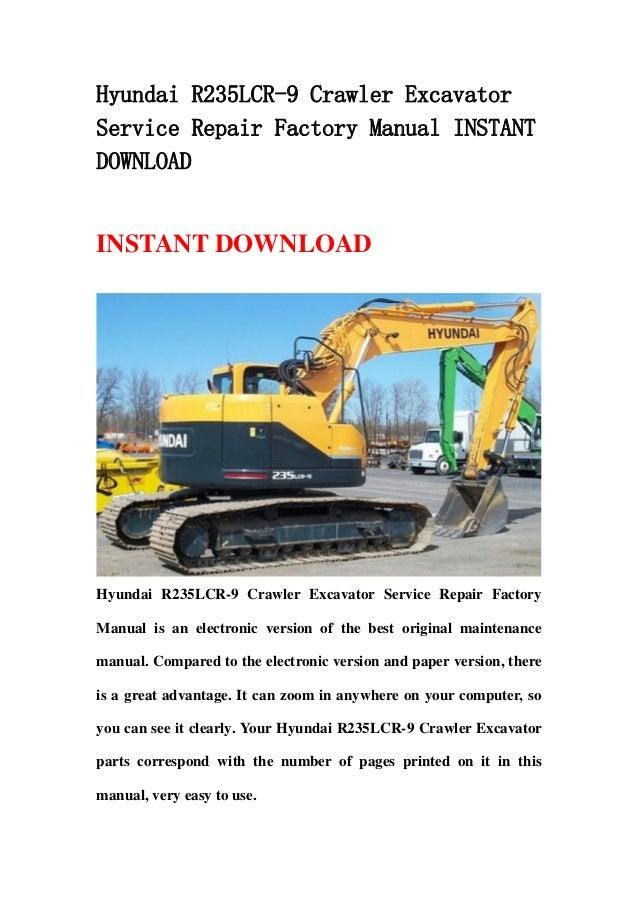 hyundai r235 lcr 9 crawler excavator service repair