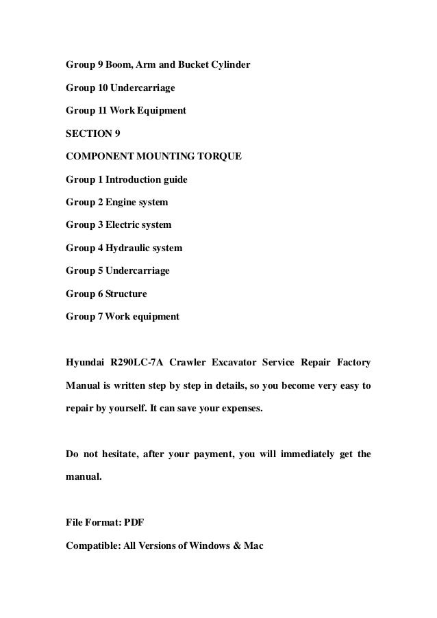 hyundai r380lc 9 crawler excavator service manual operating manual collection of 2 files