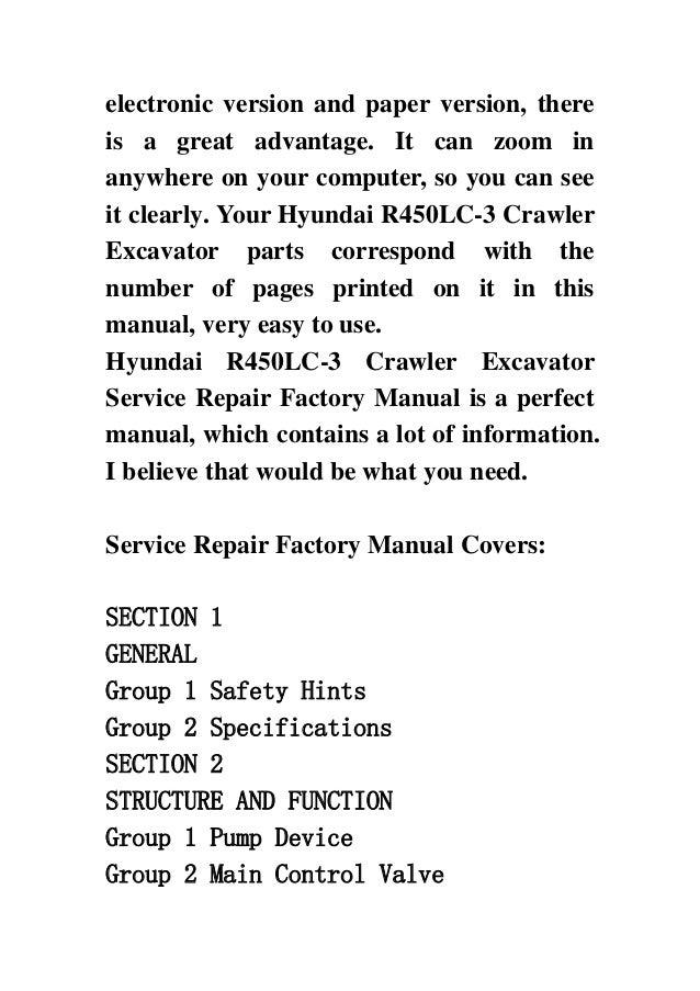 hyundai r450 lc 3 crawler excavator service repair factory