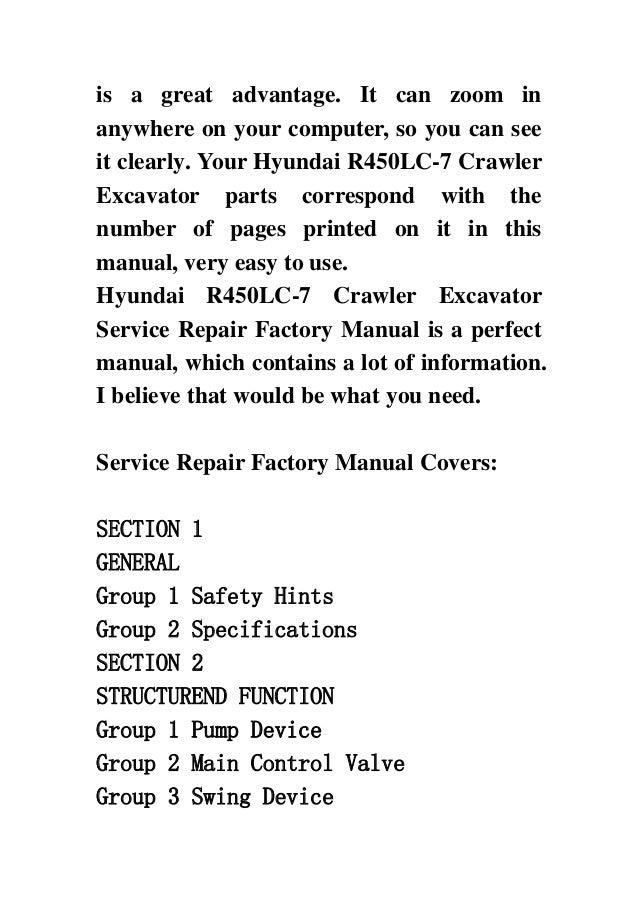 Hyundai R450 Lc 7 Crawler Excavator Service Repair Factory