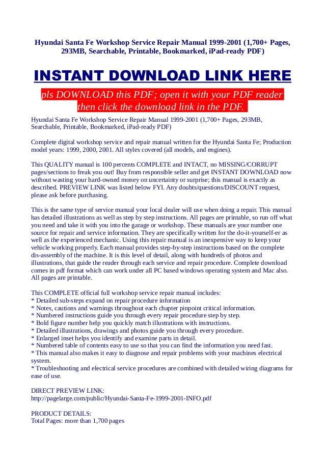 hyundai santa fe workshop service repair manual 1999 2001 1 700 pag rh slideshare net Santa Fe 2001 Parts Santa Fe 2001 Parts