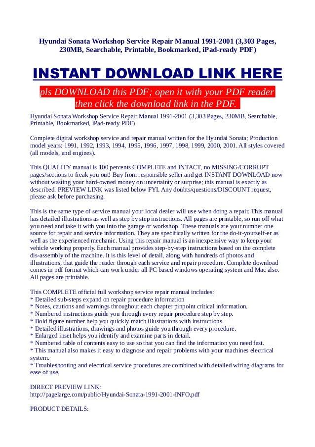 hyundai sonata workshop service repair manual 1991 2001 3 303 pages rh slideshare net 2001 hyundai sonata service manual 2001 hyundai sonata service manual
