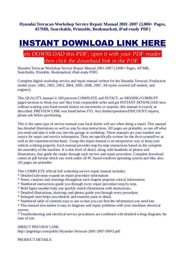 hyundai terracan workshop service repair manual 2001 2007 3 000 pag rh slideshare net hyundai terracan workshop manual free download hyundai terracan repair manual pdf
