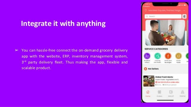 Integrate it with anything ➢ You can hassle-free connect the on-demand grocery delivery app with the website, ERP, invento...