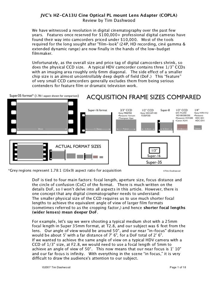 JVC's HZ-CA13U Cine Optical PL mount Lens Adapter (COPLA)                                   Review by Tim Dashwood        ...