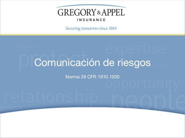 Comunicación de riesgos      Norma 29 CFR 1910.1200